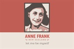 Image of Anne Frank on a red and cream background.