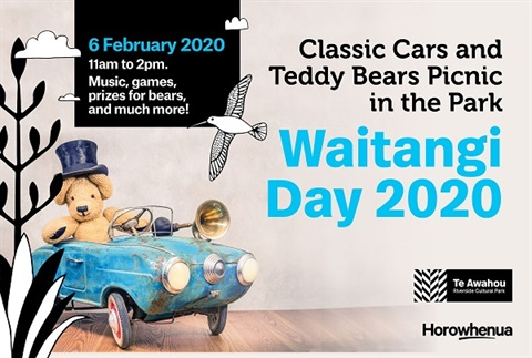 Teddy Bear in rustic blue car Waitangi Day 2020.